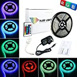 ALED LIGHT® 3528 SMD Waterproof 5M RGB 300 Led Strip Lighting Full Kit With 24Key IR Remote +2A UK Plug Power Supply For Home and Kitchen Decoration