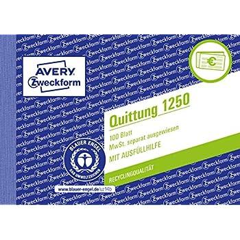 A6 quer, 100 Blatt AVERY Zweckform 1250 Quittung MwSt wei/ß separat ausgewiesen
