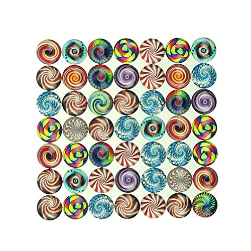 Magic Show Mixed Style 50pcs 12mm Round Mosaic Printed Glass Cabochon Dome Jewelry Finding Cameo Pendant Set