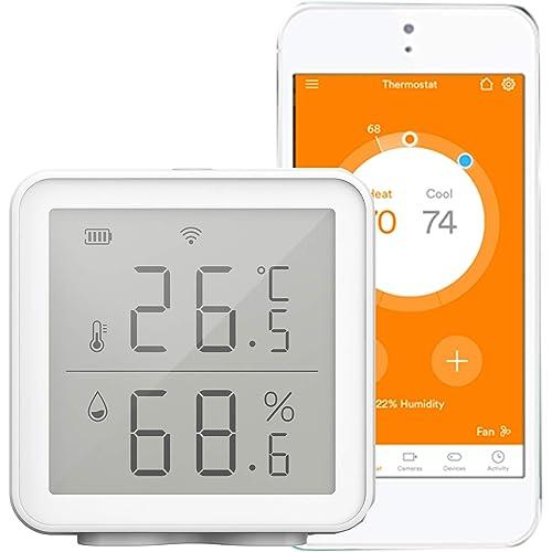 Kecheer WIFI Igrometro Termometro ambiente digitale con allarme,Termoigrometro wireless,Rilevatore temperatura e umidità compatibile con Alexa/Google Home,Smart Life/Tuya APP