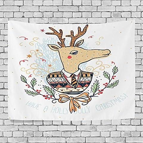 Merry Christmas Tenture murale, dessin animé de Noël Elk Deer,