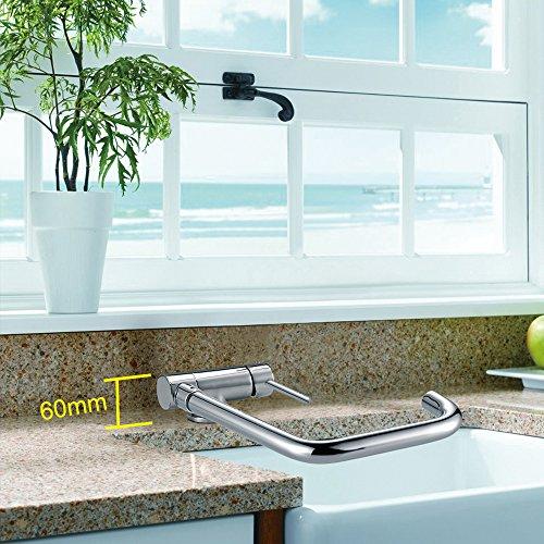 Homelody – Vorfenster-Küchenarmatur, 360° schwenkbar, hoher Auslauf, Chrom - 5