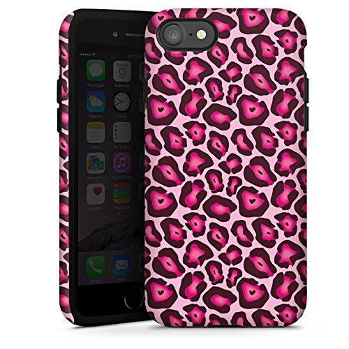 Apple iPhone X Silikon Hülle Case Schutzhülle Leo Pink Animal Print Tough Case glänzend