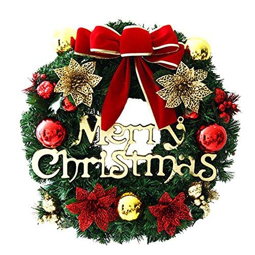 ODJOY-FAN 30cm Weihnachten Girlande Fröhlich Weihnachten Party Weihnachtsstern Kiefer Kranz Tür Wand Girlande Dekoration Kranz Zubehör(Multicolor,1 PC)