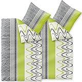 CelinaTex Enjoy Bettwäsche 135 x 200 cm 4teilig Baumwolle Bettbezug Lilly Wellen Streifen Weiß Grau Grün