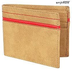 SPAIROW Mens Leather Wallet (W-215) BEIGE
