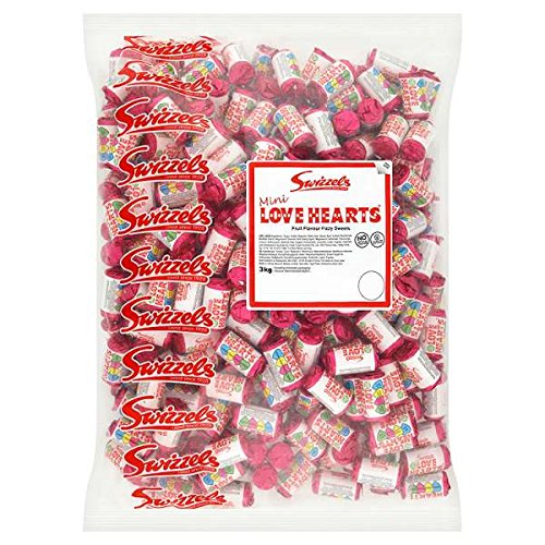Party Dekorationen British (British Swizzels Love Hearts Mini Roll Candy: 3kg Bag, (Approx 300 Rolls) by Love)