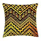FAFANI Tribal Throw Pillow Cushion Cover, Hand Drawn Painted Ethnic Pattern with Zig Zag and Stripes African Geometric Art, Decorative Square Accent Pillow Case, 18 X 18 Inches, Yellow Black