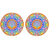 DollsofIndia Pair Of Rangoli Stickers With Peacock Design - Dia - 8.5 Inches Each (RW98)