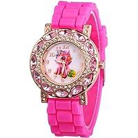 Macabolo orologio al quarzo per bambine con unicorno e brillantini, con cinturino in silicone
