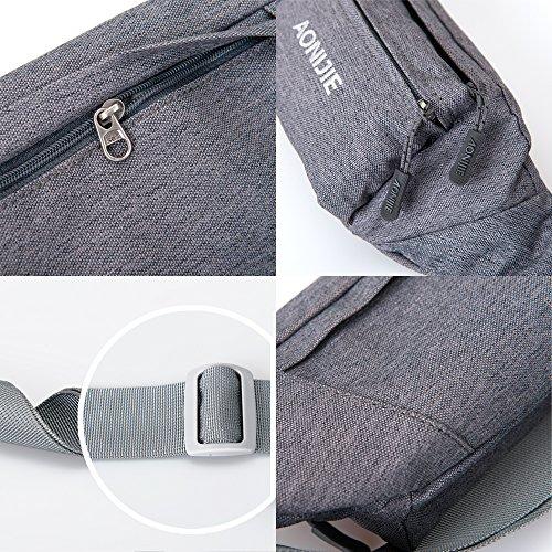 Hüfttasche, NTMY Wasser-beständiges laufendes Fanny-Satz mit 4 Taschen und justierbarem Bund für im Freienspielraum-Radfahren Wandern +1 Paare kühlen Armhülse um Schwarz