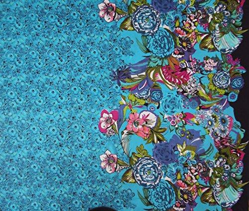 Blaues Baumwollgewebe mit Blumenmuster Designer 42