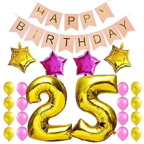 tstag Party Dekorationen Satz-Rosa Happy Birthday Banner, Folienballon 25 in Gold-XXL Riesenzahl 100cm; Stern&Latex Ballon- Süße Alles Gute Zum Geburtstag für Frauen ()