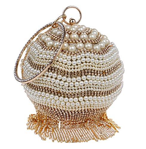 Santimon Damen Clutches Perlen Rhinestones Vorzügliche Elegante Runde Handtaschen Mit Bügel Gold