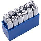 UNICRAFTALE 12 Stks IJzeren Stempels Gemengde Patronen Metalen Punch Stempel Platina Stempelen Druk Tool Case Metalen Staal T