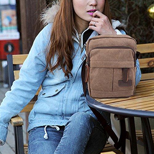 Koolertron Männer Retro Kleine Leinwand-Cross Body Handtasche 17.5x21x10 cm (kahki) kaffee