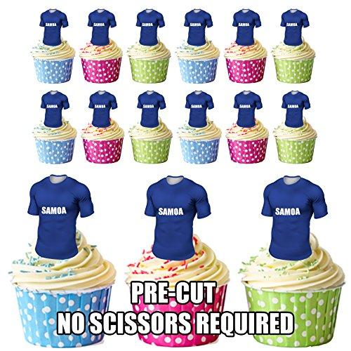 vorgeschnittenen Western Samoa Rugby Shirts Essbare Cupcake Topper/Kuchen Dekorationen (12Stück)