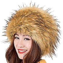 Genda 2Archer Mujeres Moda Estilo de Rusia Gorra redondoPiel sintética Sombrero