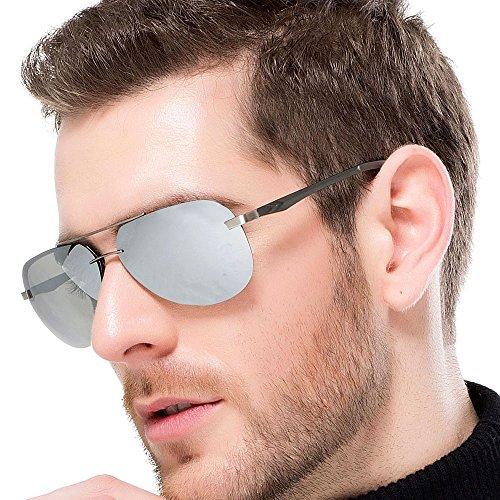FLY HAWK Polarisierte Sonnenbrille Unisex Pilotenbrille Fahrerbrille Gespiegelte Linse Metallrahmen Sunglasses UV400 Schutz Revo Brille