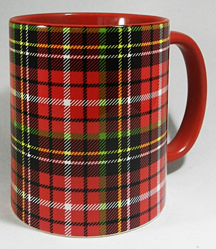 Traditonal Red Scottish Tartan Mug with glazed red handle and inner by Half a Donkey -
