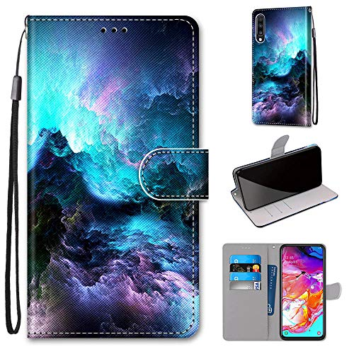 Miagon Flip PU Leder Schutzhülle für Samsung Galaxy A70,Bunt Muster Hülle Brieftasche Case Cover Ständer mit Kartenfächer Trageschlaufe,Wolke