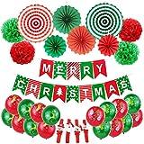 Wenosda 31PCS Frohe Weihnachtsfeier Dekorationen Set Frohe Weihnachten Fischschwanz Flagge Banner Elch / Glocke / Socke / Weihnachtsmann Latex Ballon & Papier Fan / Pull Blume Celebration Supplies