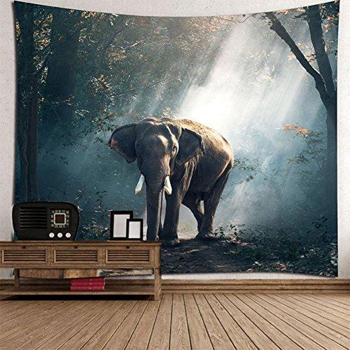 L&LQ 2 Piezas Tapiz De Elefante De Color Impreso Decorativo Mandala Tapiz Indio Boho De Pared Alfombra Ropa De Cama,200X180cm