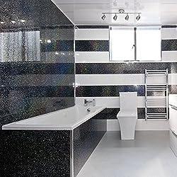 5 Black Sparkle Diamond Effect PVC Bathroom Cladding Shower Wall Panels
