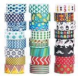 Washi Tape 24er Set Dekoband Masking Tape Dekorative Regenbogen Klebeband buntes...