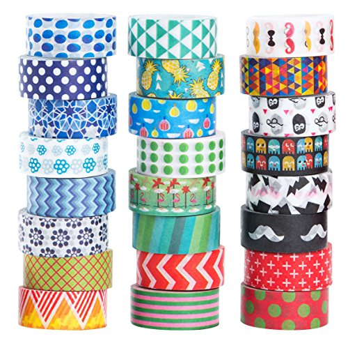 Washi Tape 24er Set Dekoband Masking Tape Dekorative Regenbogen Klebeband buntes Klebebänder DIY scrapbook deko - Deko-tape
