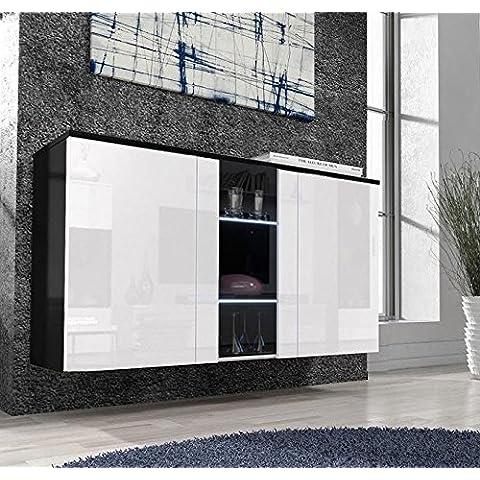 Muebles Bonitos – Aparador colgante de diseño Salve en color negro con blanco