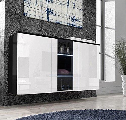Letti e Mobili – Credenza Salve nero con bianco con LED