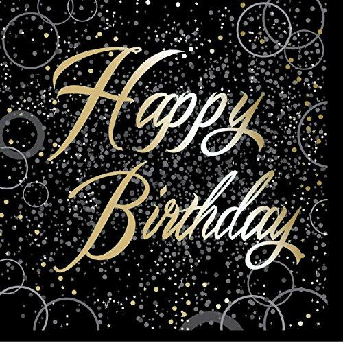 ten mit Foliendruck für den Geburtstag Happy Birthday gold,16er pack (Goldener Geburtstag Ideen Für Erwachsene)