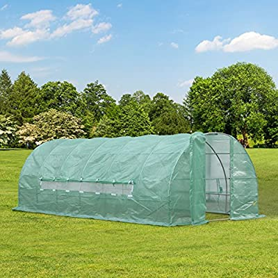 Outsunny® Foliengewächshaus 18m² Gewächshaus Treibhaus Tomatenhaus mit Fenster, PE-Gitterfolie, 6x3x2m von hergestellt für Outsunny - Du und dein Garten
