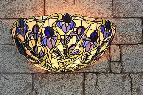 Broncos 12 pouces Vintage Pastoral Vitrail Tiffany Fleurs Applique Couloir Applique murale Lampe Mobilier