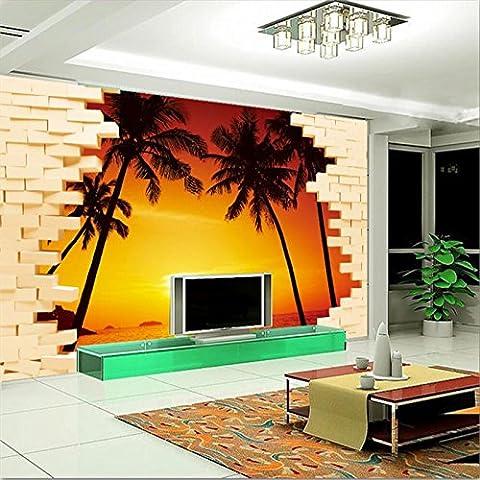 Lwcx Custom 3D Wallpaper Sunrise mer fantastique 3D Stereo Tv Informations Générales Le séjour la décoration murale 100X100CM