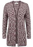 BlendShe Zoya Damen Lange Strickjacke Cardigan Grobstrick Winter Longstrickjacke mit V-Ausschnitt, Größe:XL, Farbe:Zinfandel (73006)
