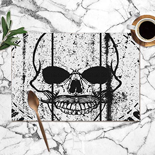 565ce0e8bbee2 Nicegift Placemats Set of 6,Skull T Shirt Graphic Design Beauty Fashion Art  Miscellaneous Heat-Resistant Placemats Washable Table Mats For Kitchen ...
