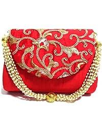 Arisha Kreation Co Clutch Potli Using Silk Fabric (Red)