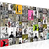 Bilder Collage Banksy Street Art Wandbild 200 x 80 cm Vlies - Leinwand Bild XXL Format Wandbilder Wohnzimmer Wohnung Deko Kunstdrucke Bunt 5 Teilig - MADE IN GERMANY - Fertig zum Aufhängen 302755a