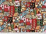 ab 1m: Chiffon-Druck, leicht gecrasht, gemalte Häuser,