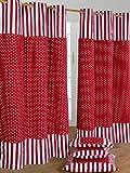Homescapes Kindervorhang Mädchen Kinderzimmer Ösenvorhang Dekoschal Polka Dots 2er Set rot weiß 137 x 228 cm (Breite x Länge je Vorhang) 100% reine Baumwolle