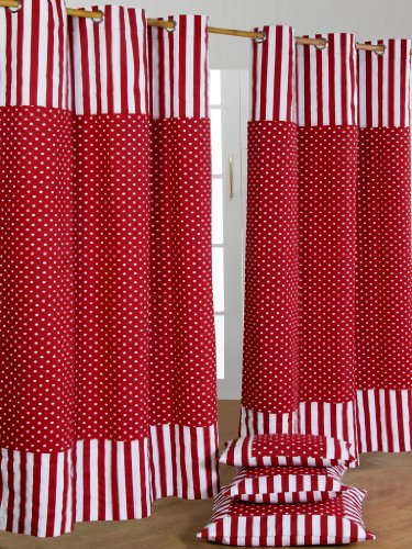 Homescapes Kindervorhang Mädchen Kinderzimmer Ösenvorhang Dekoschal Polka Dots 2er Set rot weiß 137 x 228 cm (Breite x Länge je Vorhang) 100% reine Baumwolle (Stoff Dot Vorhang)