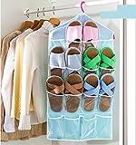 #1: Pindia Plastic 16 Pockets Over Door Hanging Storage Bag, Sky Blue