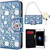SMART LEGEND Flip Cover per iPhone 7, SMARTLEGEND Custodia Wallet in PU Pelle, Anti - Graffio Card Holder Bumper Case Cover in Fiore Pattern Design Slot & Catena Exquisite - Gelsomino