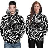 JUSTSELL Langarmshirts Pullover Herren Damen Herbst Winter, Männer Frauen Zebra Streifen 3D-Druck Kapuzenpullove mit Kängurutasche Sweatshirt HoodieJacke Tops