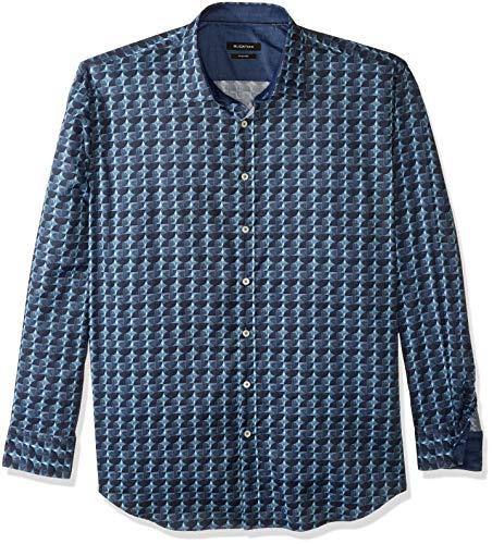 Bugatchi Herren Long Sleeve Shaped Woven Shirt Hemd, Navy, Groß - Long Sleeve Woven Shirt