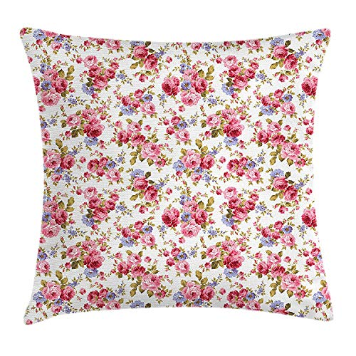 tgyew Roses Throw Pillow Cushion Cover, Graceful Spring Theme Botanical Composition Nostalgic Bridal Lovely Nature, Decorative Square Accent Pillow Case, 18 X 18 inches, Pink Lavander Green