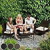 TecTake SET DI MOBILI RATTAN ARREDAMENTO GIARDINO SET COMPLETO - disponibile in diversi colori - (Nero-Marrone)