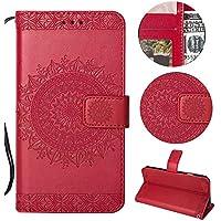 Sycode Galaxy S8 Plus Wallet Hülle,Galaxy S8 Plus Ledertasche,Totem Blumen Rot PU Leder Brieftasche für Samsung Galaxy S8 Plus-Rot